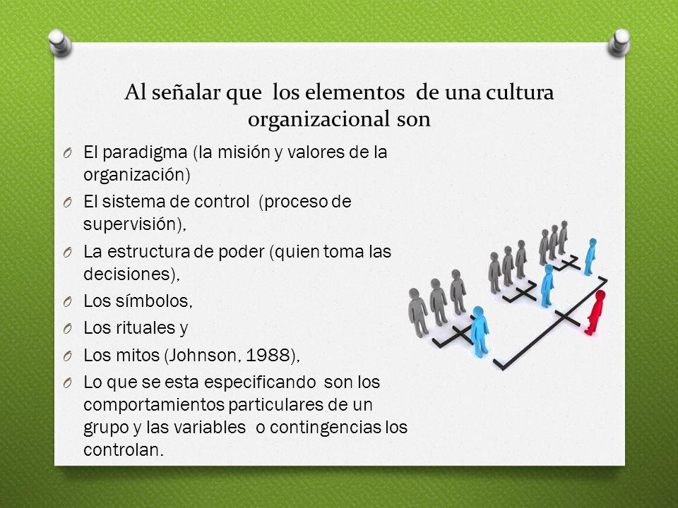 Al señalar que los elementos de una cultura organizacional son O El paradigma (la misión y valores de la organización) O El sistema de control (proces