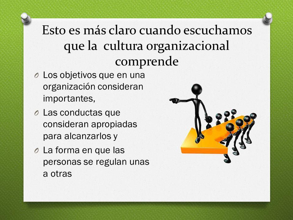 Esto es más claro cuando escuchamos que la cultura organizacional comprende O Los objetivos que en una organización consideran importantes, O Las cond