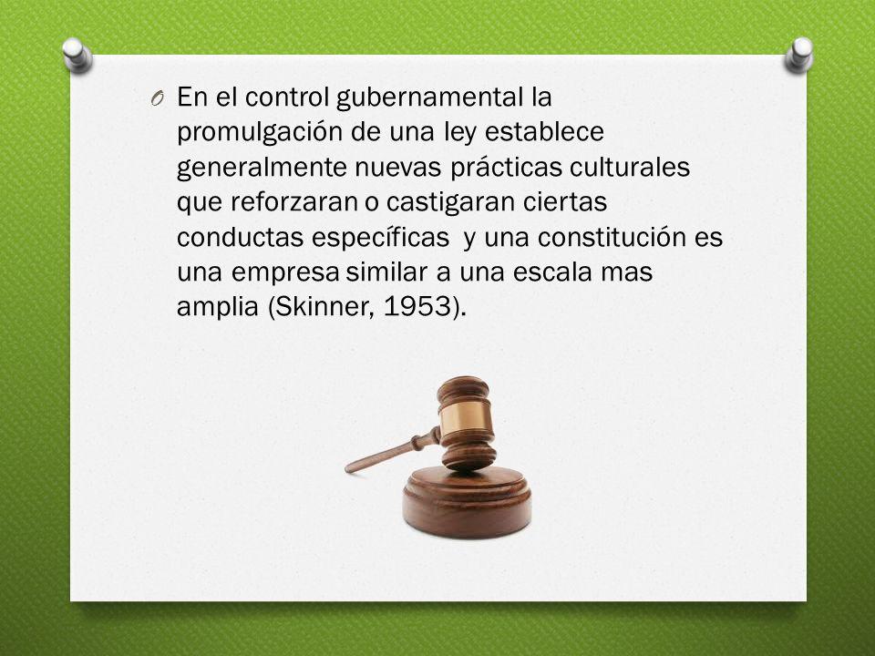 O En el control gubernamental la promulgación de una ley establece generalmente nuevas prácticas culturales que reforzaran o castigaran ciertas conduc