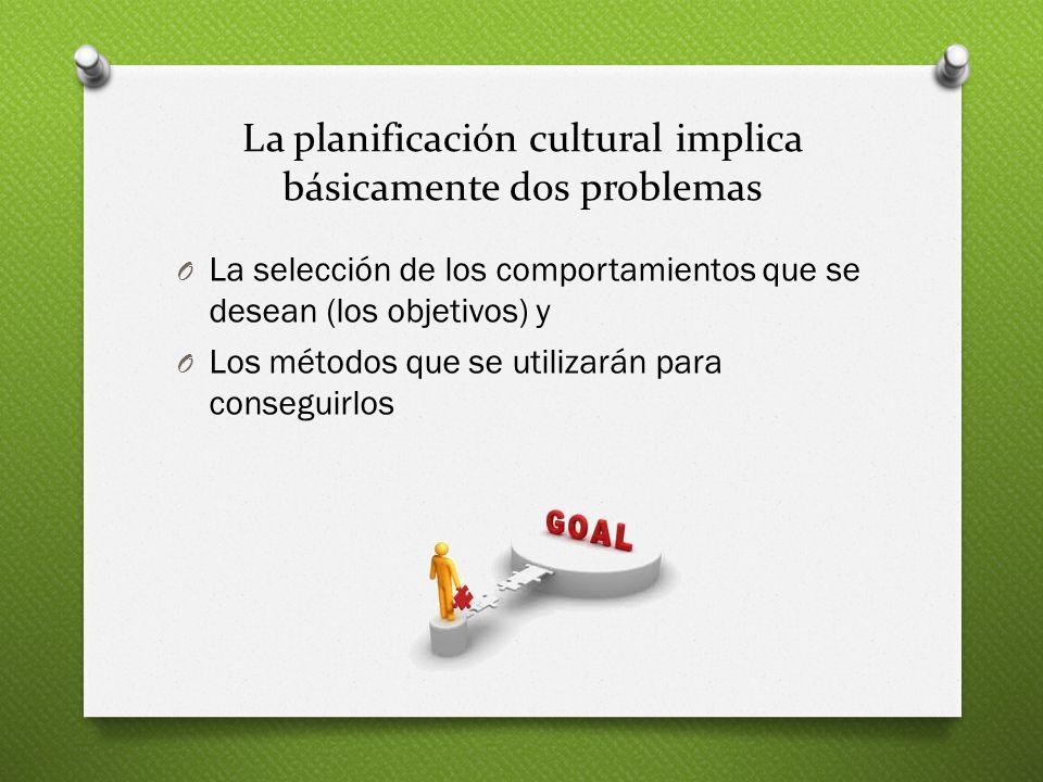 La planificación cultural implica básicamente dos problemas O La selección de los comportamientos que se desean (los objetivos) y O Los métodos que se