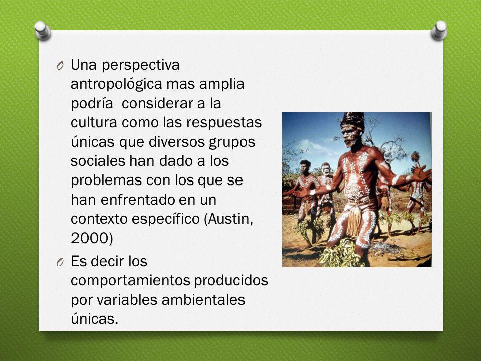 O Una perspectiva antropológica mas amplia podría considerar a la cultura como las respuestas únicas que diversos grupos sociales han dado a los probl