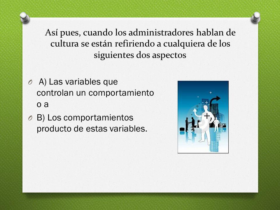 Así pues, cuando los administradores hablan de cultura se están refiriendo a cualquiera de los siguientes dos aspectos O A) Las variables que controla