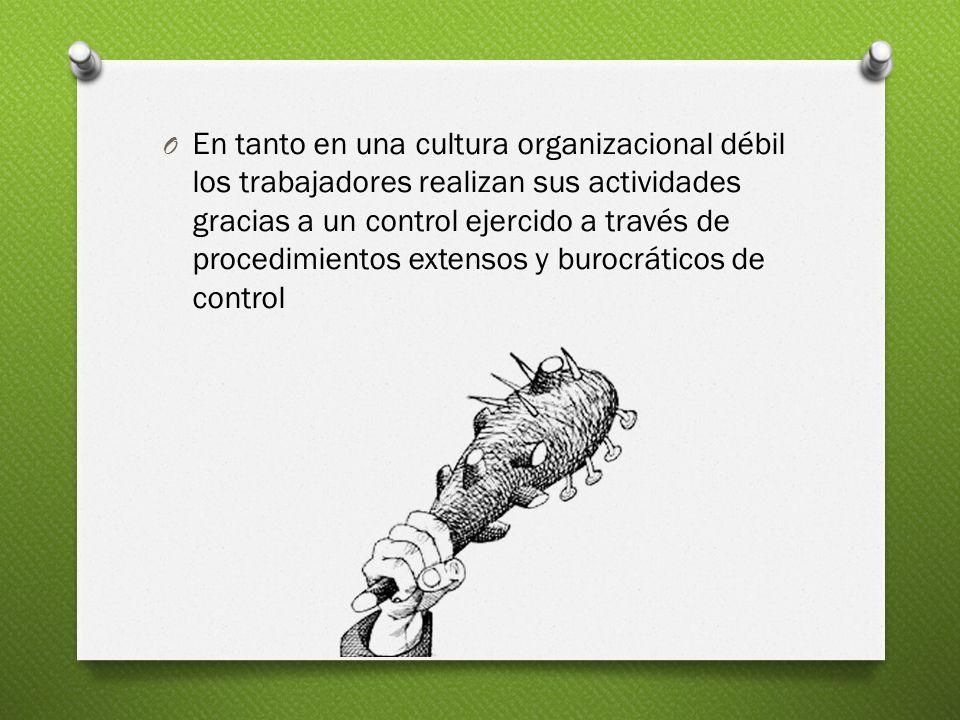 O En tanto en una cultura organizacional débil los trabajadores realizan sus actividades gracias a un control ejercido a través de procedimientos exte