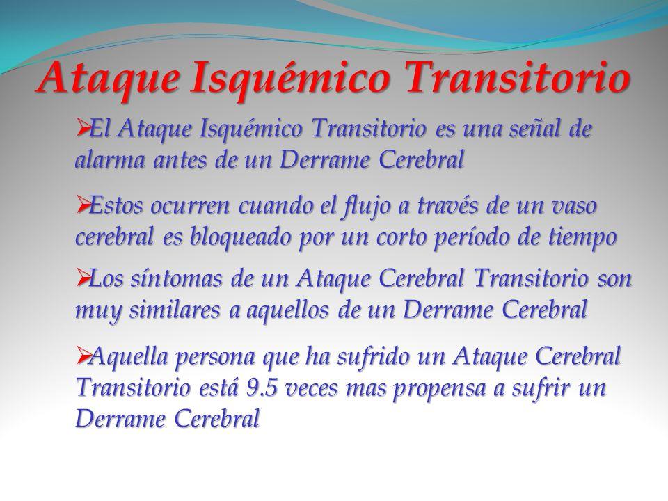 Ataque Isquémico Transitorio El Ataque Isquémico Transitorio es una señal de alarma antes de un Derrame Cerebral Estos ocurren cuando el flujo a travé