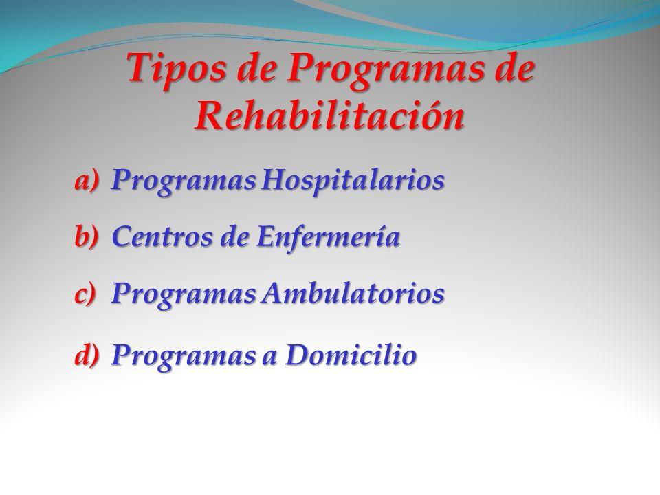 Tipos de Programas de Rehabilitación a)P rogramas Hospitalarios b)C entros de Enfermería c)P rogramas Ambulatorios d)P rogramas a Domicilio