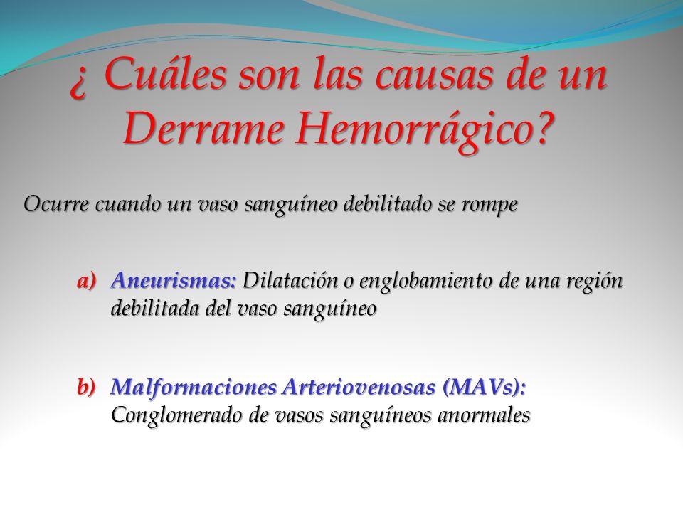 ¿ Cuáles son las causas de un Derrame Hemorrágico? Ocurre cuando un vaso sanguíneo debilitado se rompe a) A neurismas: Dilatación o englobamiento de u