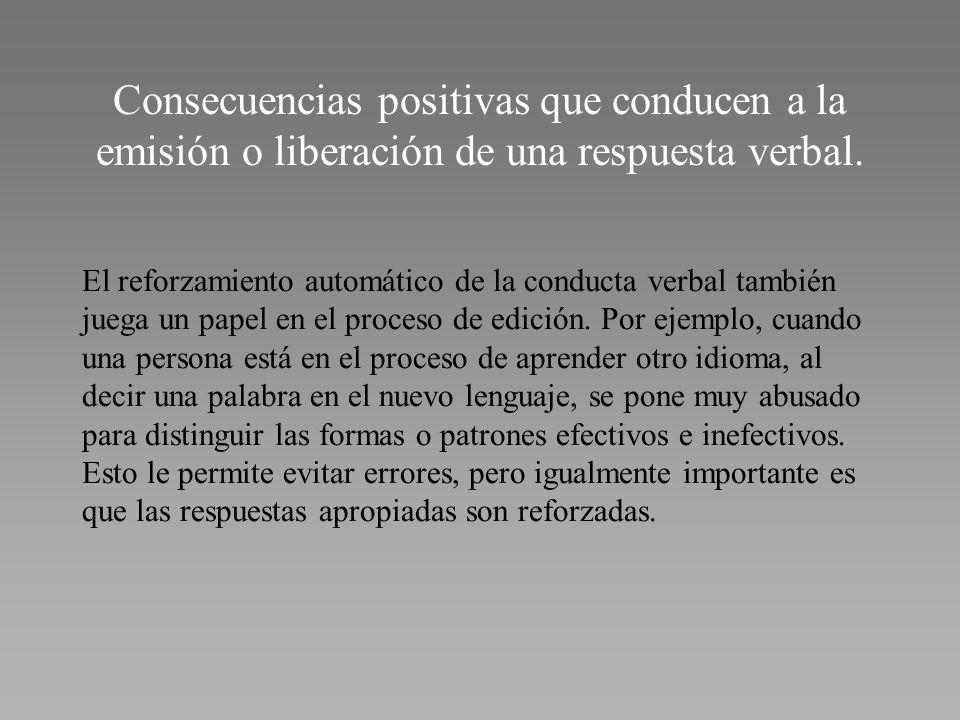 Consecuencias positivas que conducen a la emisión o liberación de una respuesta verbal. El reforzamiento automático de la conducta verbal también jueg