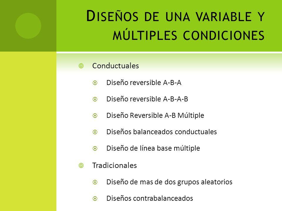 D ISEÑOS DE UNA VARIABLE Y MÚLTIPLES CONDICIONES Conductuales Diseño reversible A-B-A Diseño reversible A-B-A-B Diseño Reversible A-B Múltiple Diseños