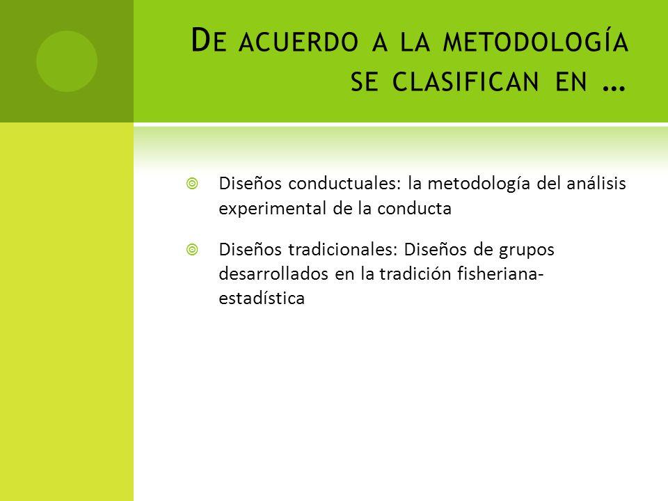 D E ACUERDO A LA METODOLOGÍA SE CLASIFICAN EN … Diseños conductuales: la metodología del análisis experimental de la conducta Diseños tradicionales: D