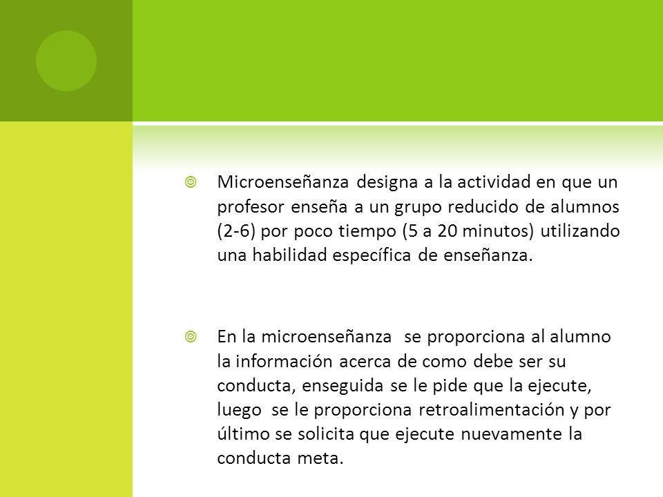 Microenseñanza designa a la actividad en que un profesor enseña a un grupo reducido de alumnos (2-6) por poco tiempo (5 a 20 minutos) utilizando una h