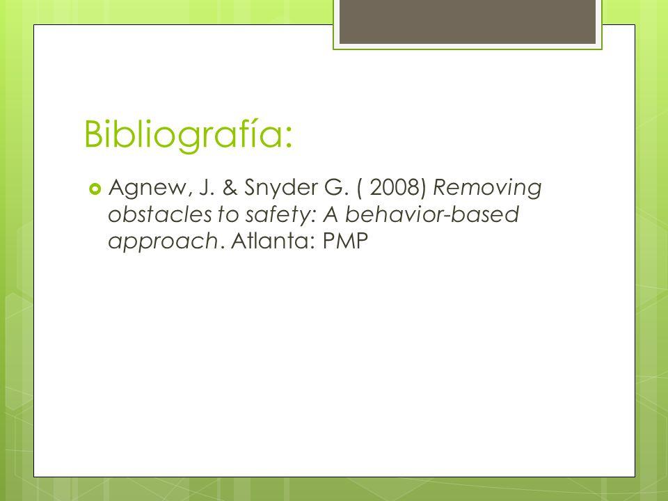 Bibliografía: Agnew, J. & Snyder G. ( 2008) Removing obstacles to safety: A behavior-based approach. Atlanta: PMP