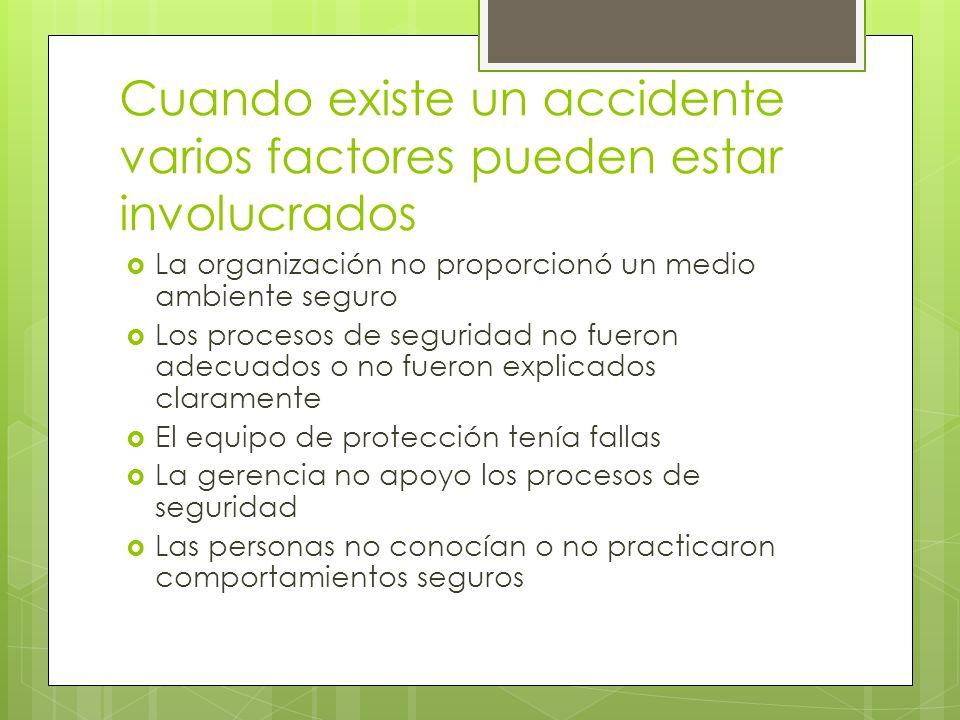 Cuando existe un accidente varios factores pueden estar involucrados La organización no proporcionó un medio ambiente seguro Los procesos de seguridad