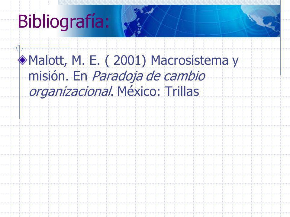 Bibliografía: Malott, M. E. ( 2001) Macrosistema y misión. En Paradoja de cambio organizacional. México: Trillas