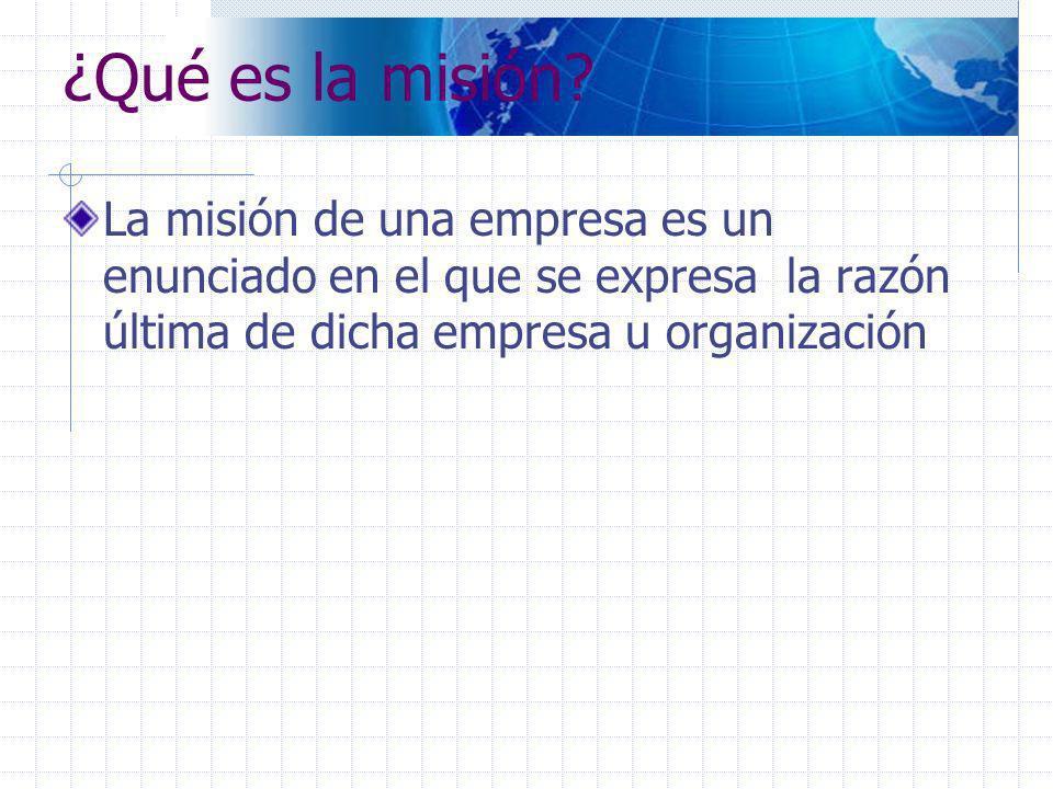 La respuesta de las siguientes preguntas facilita la redacción de la misión La misión de ……..es producir/brindar el producto/ servicio de ……….para……..de manera……