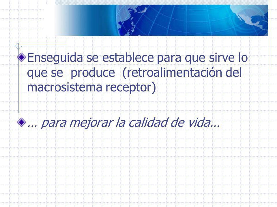 Enseguida se establece para que sirve lo que se produce (retroalimentación del macrosistema receptor) … para mejorar la calidad de vida…
