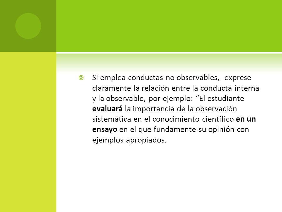 Si emplea conductas no observables, exprese claramente la relación entre la conducta interna y la observable, por ejemplo: El estudiante evaluará la i