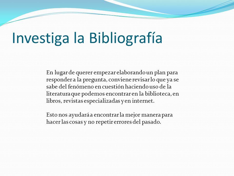 Investiga la Bibliografía En lugar de querer empezar elaborando un plan para responder a la pregunta, conviene revisar lo que ya se sabe del fenómeno