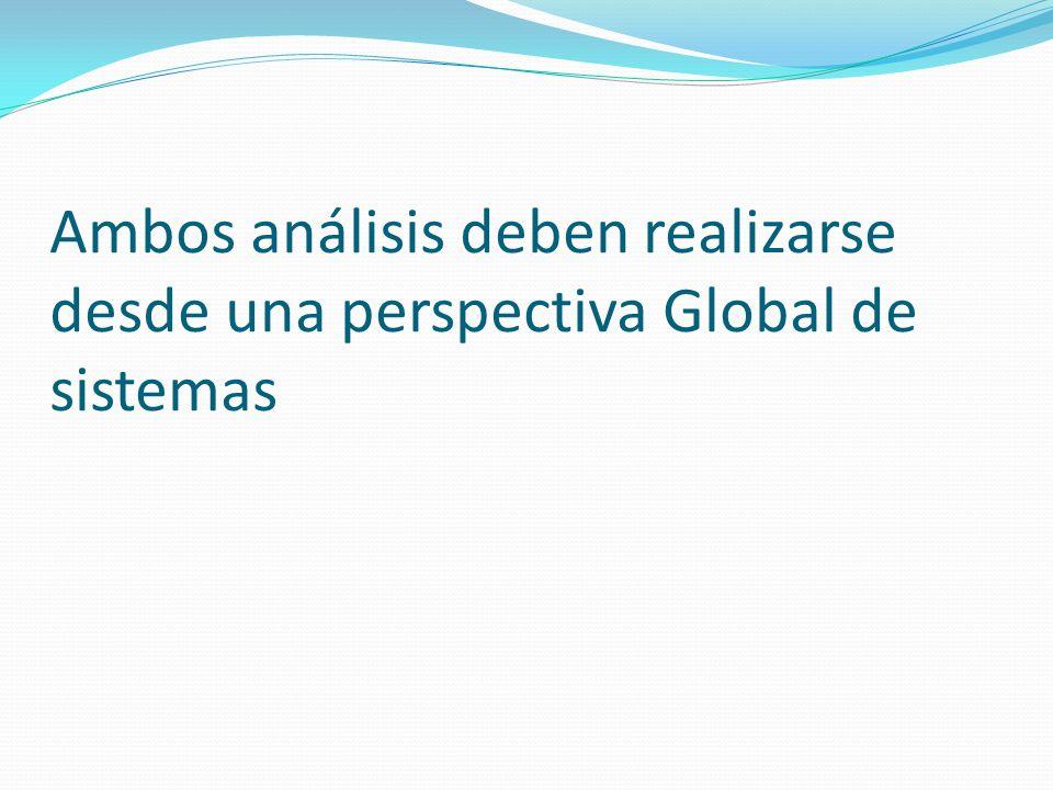 Ambos análisis deben realizarse desde una perspectiva Global de sistemas