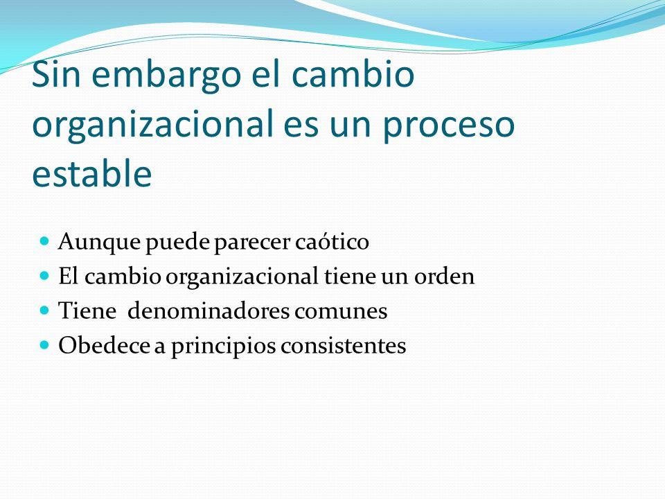 Sin embargo el cambio organizacional es un proceso estable Aunque puede parecer caótico El cambio organizacional tiene un orden Tiene denominadores comunes Obedece a principios consistentes
