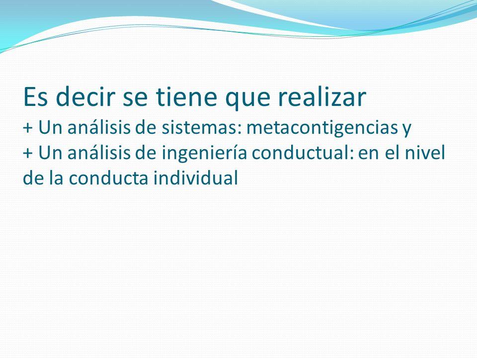 Es decir se tiene que realizar + Un análisis de sistemas: metacontigencias y + Un análisis de ingeniería conductual: en el nivel de la conducta individual