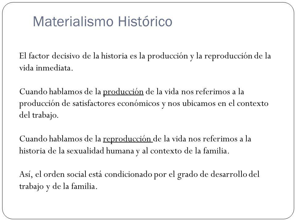 Materialismo Histórico El factor decisivo de la historia es la producción y la reproducción de la vida inmediata. Cuando hablamos de la producción de