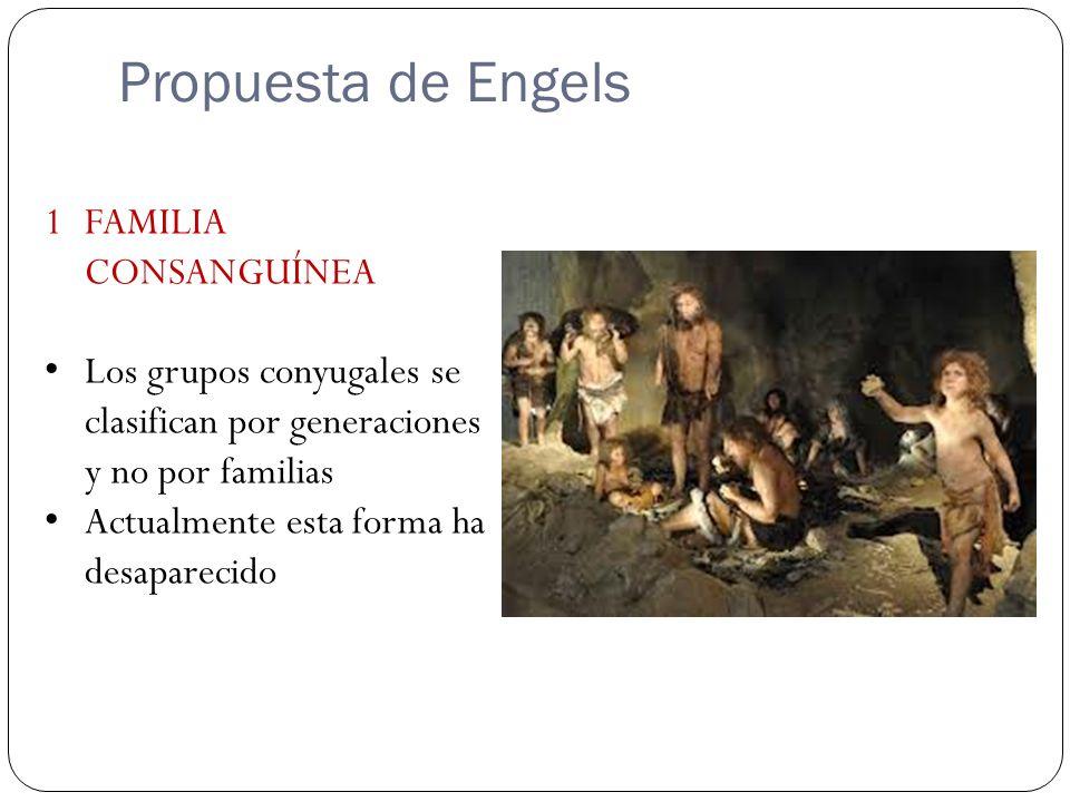 Propuesta de Engels 1FAMILIA CONSANGUÍNEA Los grupos conyugales se clasifican por generaciones y no por familias Actualmente esta forma ha desaparecid