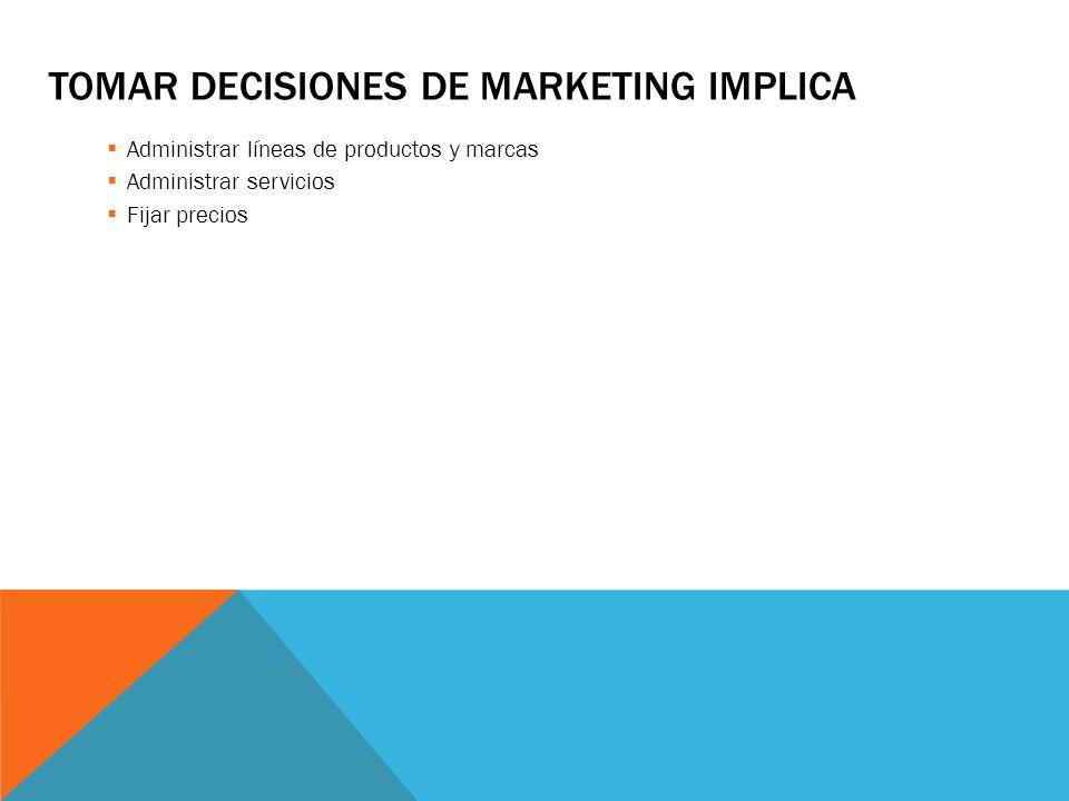 ADMINISTRAR PROGRAMAS DE MERCADOTECNIA IMPLICA Administrar los canales de distribución Administrar ventas al detalle, mayoreo y logística de mercados Administrar procesos de comunicación integrados al marketing Administrar la publicidad, la promoción de ventas y las relaciones públicas Administrar la fuerza de ventas Administrar el marketing directo y en línea