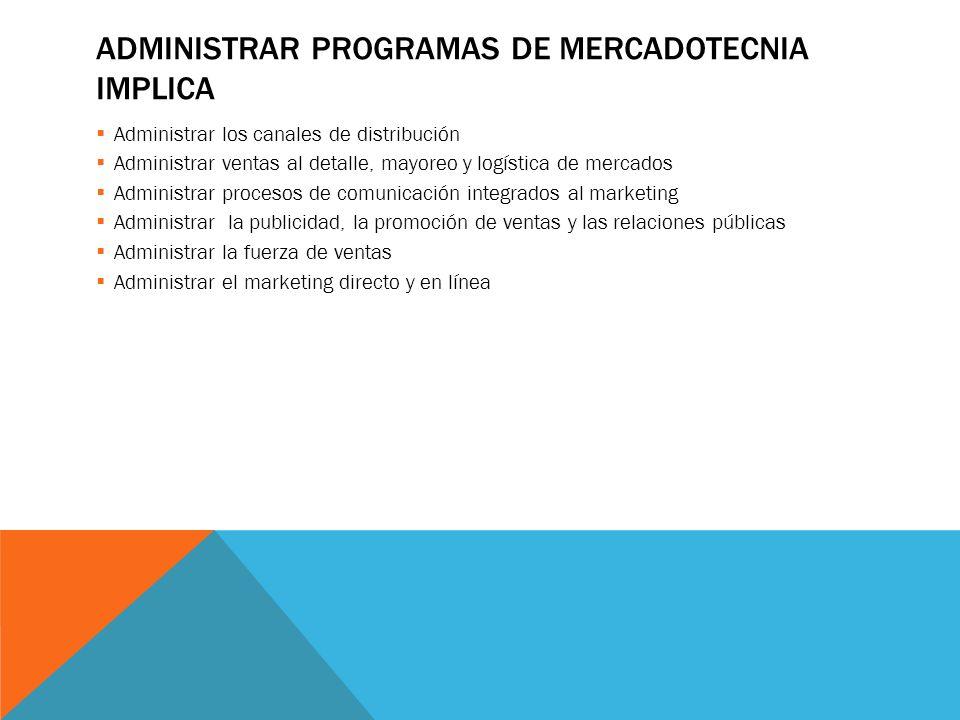 ADMINISTRAR PROGRAMAS DE MERCADOTECNIA IMPLICA Administrar los canales de distribución Administrar ventas al detalle, mayoreo y logística de mercados