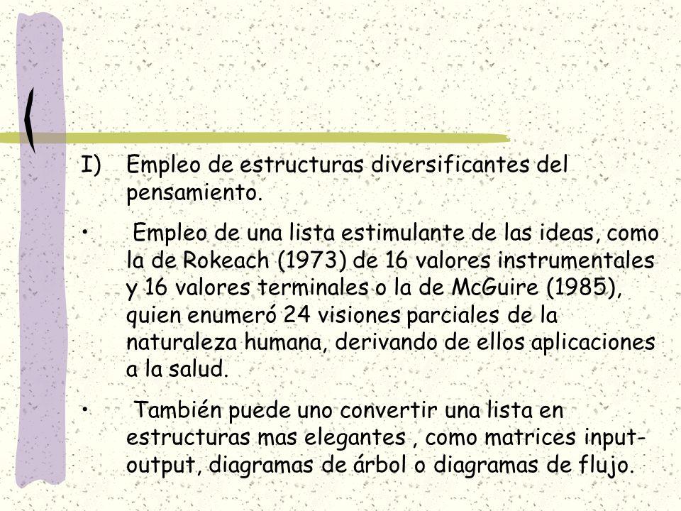 I)Empleo de estructuras diversificantes del pensamiento. Empleo de una lista estimulante de las ideas, como la de Rokeach (1973) de 16 valores instrum