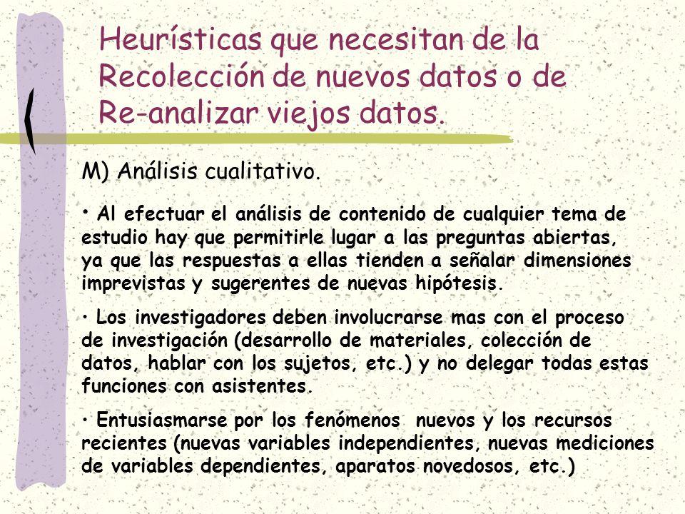 Heurísticas que necesitan de la Recolección de nuevos datos o de Re-analizar viejos datos. M) Análisis cualitativo. Al efectuar el análisis de conteni