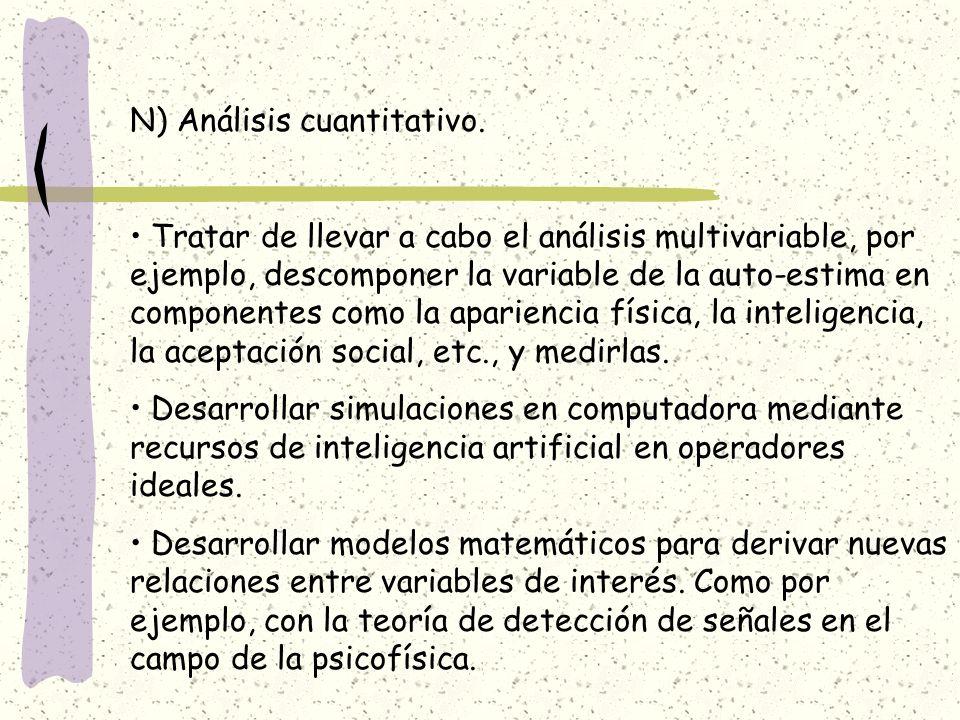 N) Análisis cuantitativo. Tratar de llevar a cabo el análisis multivariable, por ejemplo, descomponer la variable de la auto-estima en componentes com