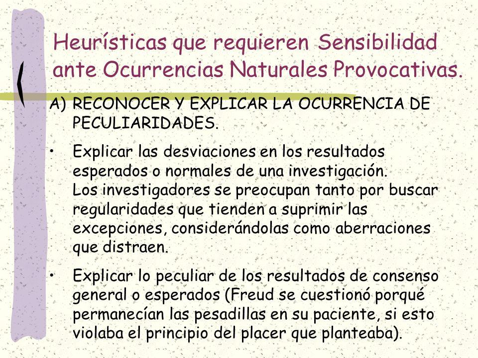 Heurísticas que requieren Sensibilidad ante Ocurrencias Naturales Provocativas. A)RECONOCER Y EXPLICAR LA OCURRENCIA DE PECULIARIDADES. Explicar las d