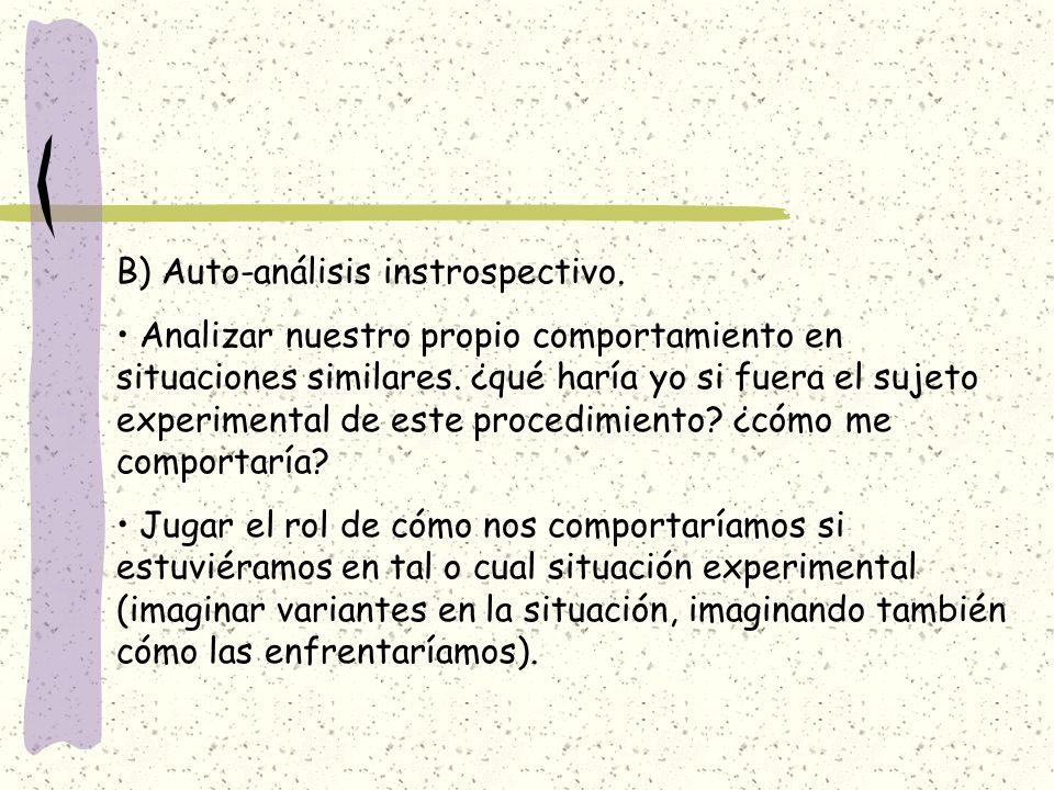 B) Auto-análisis instrospectivo. Analizar nuestro propio comportamiento en situaciones similares. ¿qué haría yo si fuera el sujeto experimental de est