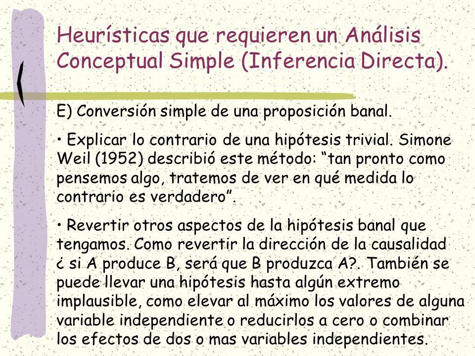 Heurísticas que requieren un Análisis Conceptual Simple (Inferencia Directa). E) Conversión simple de una proposición banal. Explicar lo contrario de