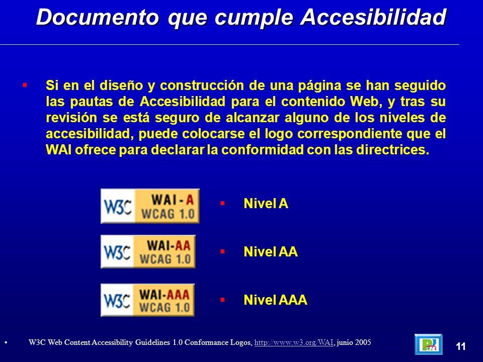 Si en el diseño y construcción de una página se han seguido las pautas de Accesibilidad para el contenido Web, y tras su revisión se está seguro de alcanzar alguno de los niveles de accesibilidad, puede colocarse el logo correspondiente que el WAI ofrece para declarar la conformidad con las directrices.