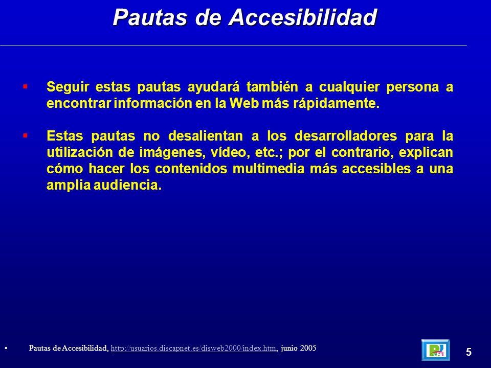 2) Pautas de Accesibilidad a la Web