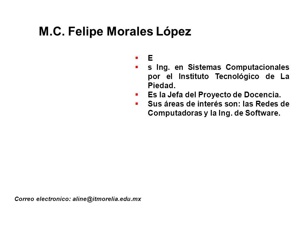 M.C.Felipe Morales López Correo electronico: aline@itmorelia.edu.mx E s Ing.
