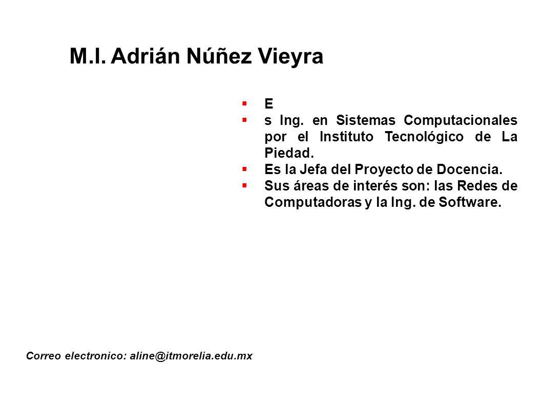 M.I.Adrián Núñez Vieyra Correo electronico: aline@itmorelia.edu.mx E s Ing.