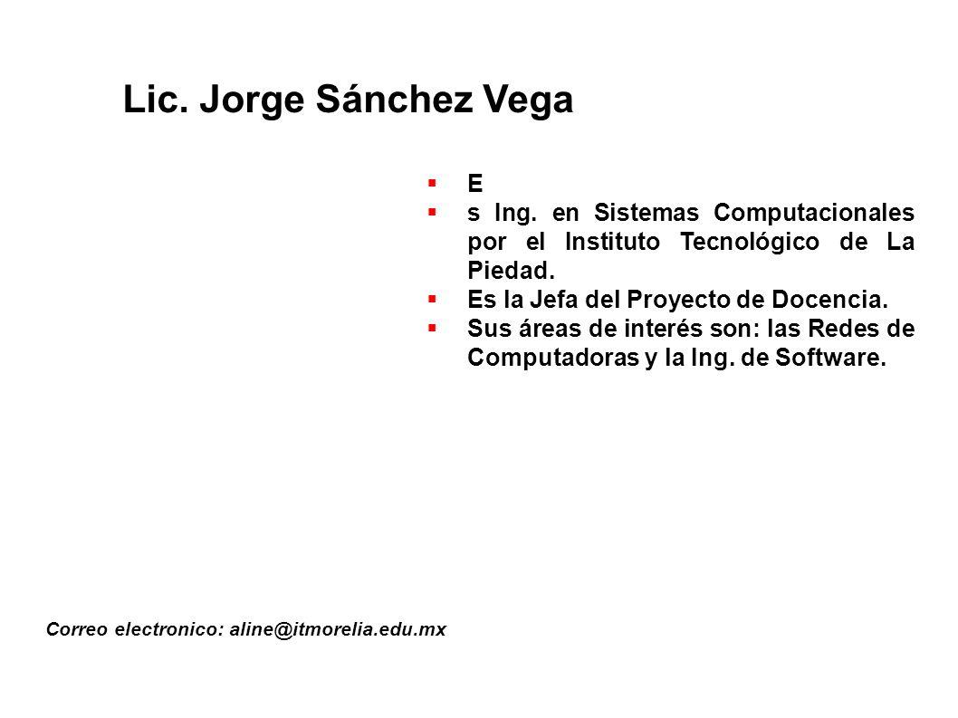 Lic.Jorge Sánchez Vega Correo electronico: aline@itmorelia.edu.mx E s Ing.