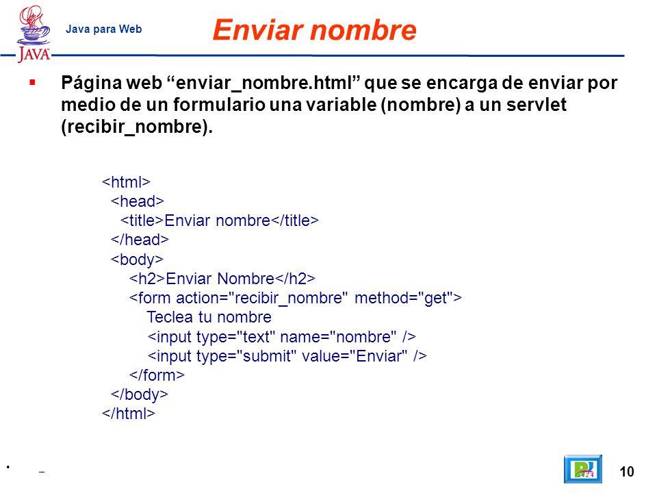 10 _ Java para Web Enviar nombre Enviar nombre Enviar Nombre Teclea tu nombre Página web enviar_nombre.html que se encarga de enviar por medio de un f