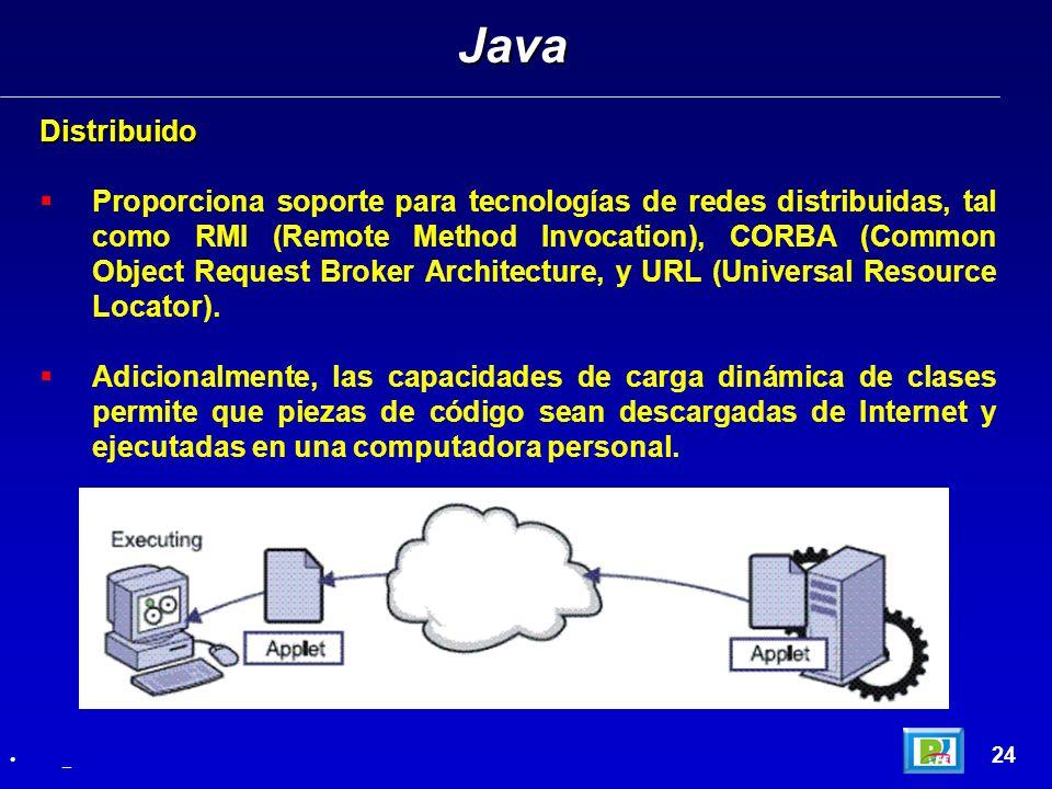 Distribuido Proporciona soporte para tecnologías de redes distribuidas, tal como RMI (Remote Method Invocation), CORBA (Common Object Request Broker A