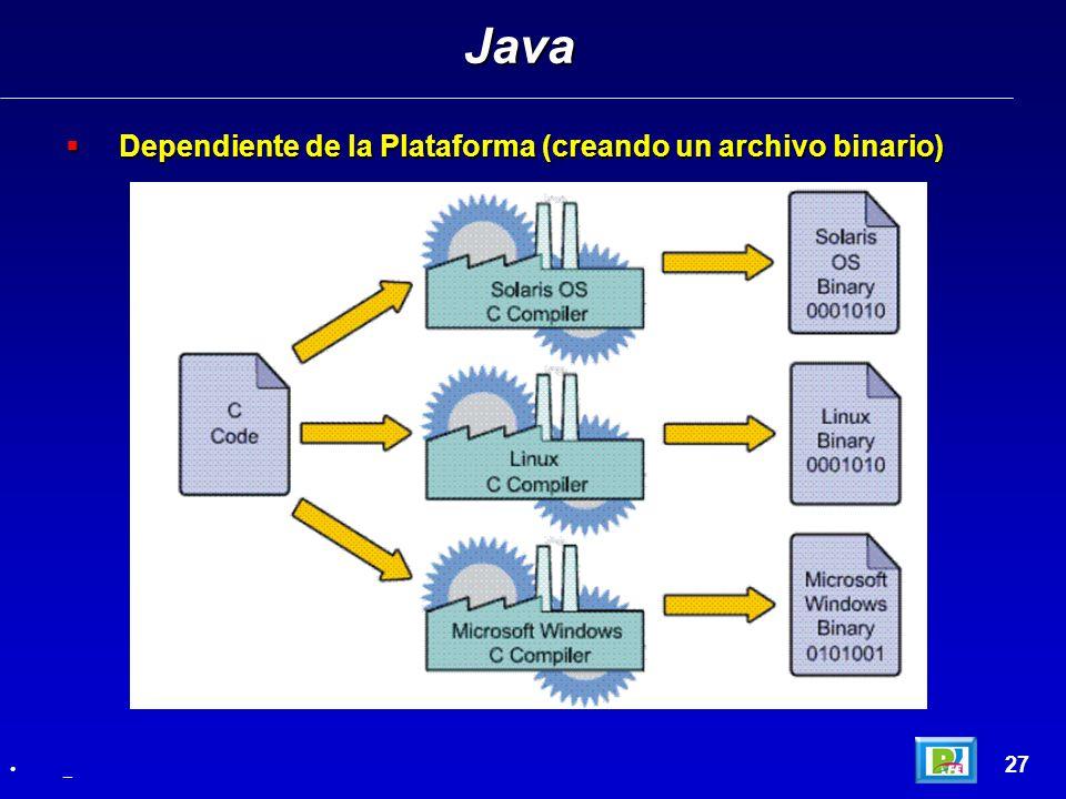 Dependiente de la Plataforma (creando un archivo binario) Dependiente de la Plataforma (creando un archivo binario) Java 27 _