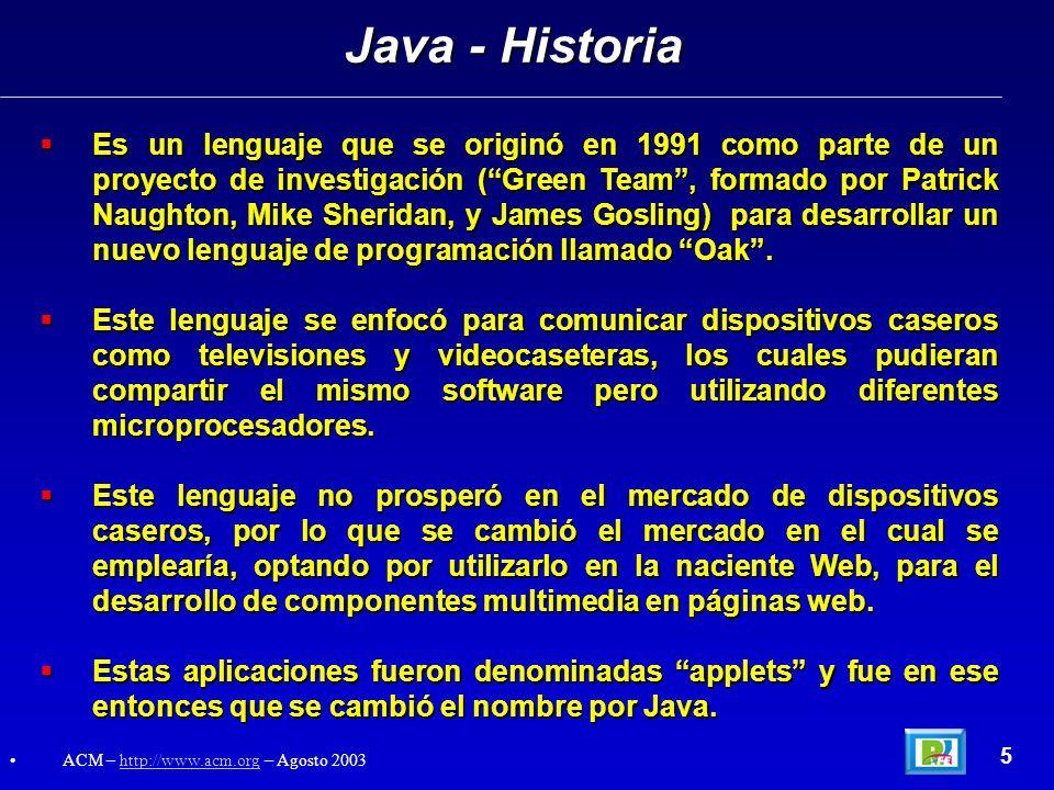 Es un lenguaje que se originó en 1991 como parte de un proyecto de investigación (Green Team, formado por Patrick Naughton, Mike Sheridan, y James Gos