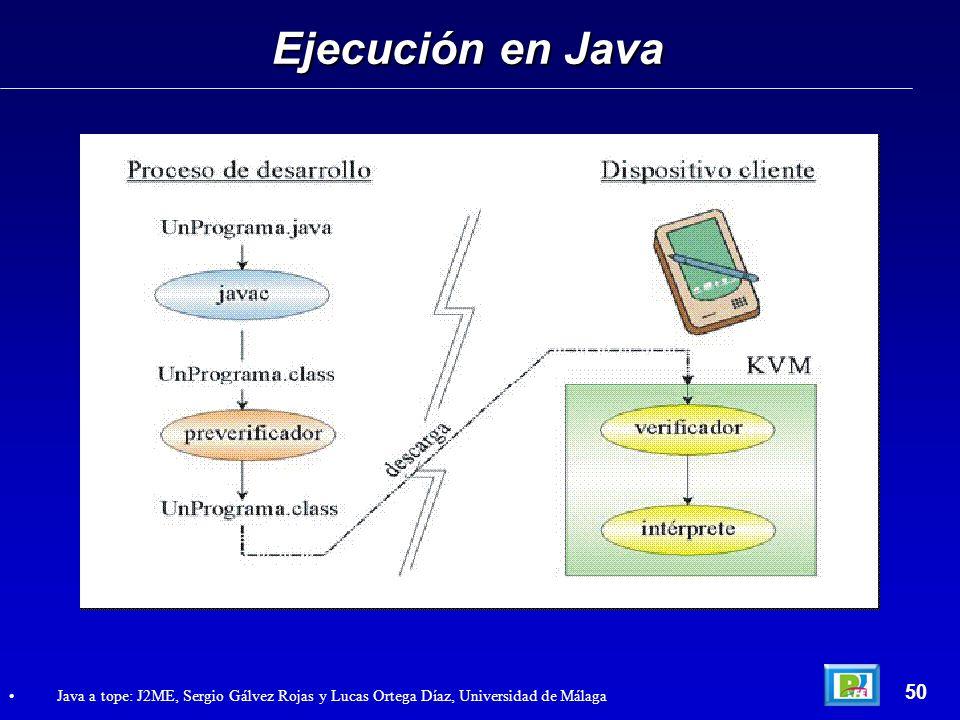 Ejecución en Java 50 Java a tope: J2ME, Sergio Gálvez Rojas y Lucas Ortega Díaz, Universidad de Málaga
