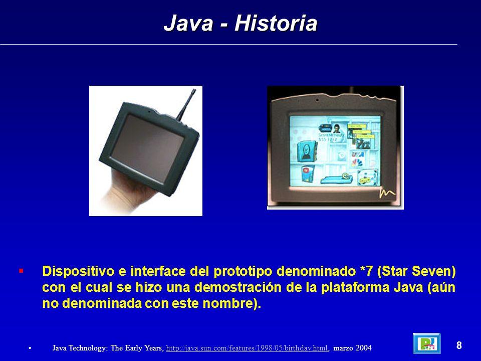 Dispositivo e interface del prototipo denominado *7 (Star Seven) con el cual se hizo una demostración de la plataforma Java (aún no denominada con est