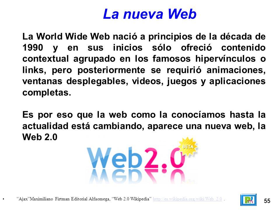 55 AjaxMaximiliano Firtman Editorial Alfaomega, Web 2.0 Wikipedia http://es.wikipedia.org/wiki/Web_2.0.http://es.wikipedia.org/wiki/Web_2.0 La nueva Web La World Wide Web nació a principios de la década de 1990 y en sus inicios sólo ofreció contenido contextual agrupado en los famosos hipervínculos o links, pero posteriormente se requirió animaciones, ventanas desplegables, videos, juegos y aplicaciones completas.