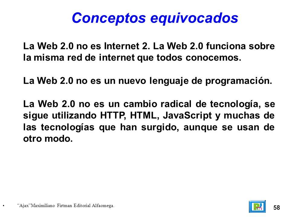 58 AjaxMaximiliano Firtman Editorial Alfaomega. Conceptos equivocados La Web 2.0 no es Internet 2.