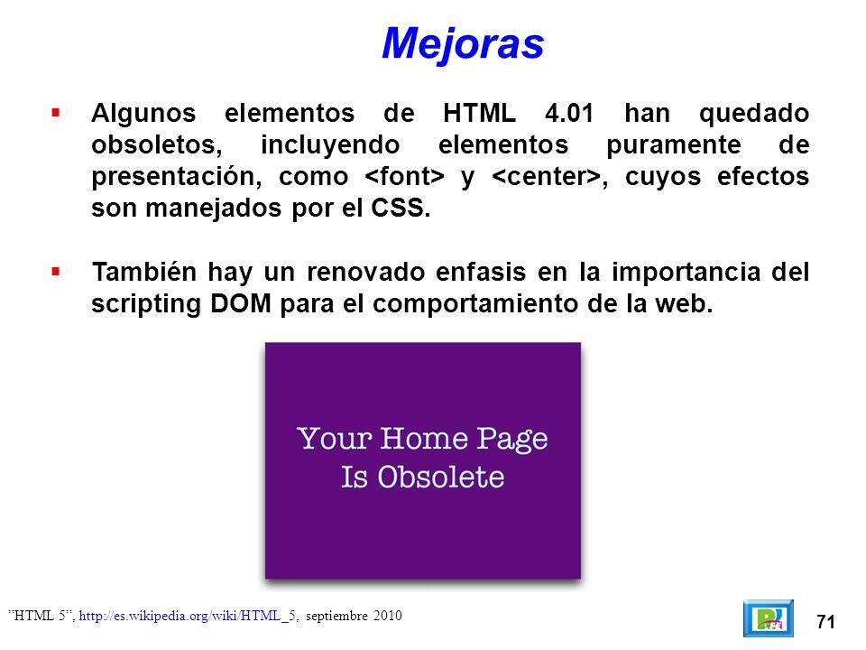 72 Pro HTML Programming Peter Lubbers, Brian Albers y Fran Salim, Apress, USA 2010 Desarrollo de HTML 5 Los que actualmente trabajan en HTML 5 son: WHATWG (Web Hypertext Application Technology Working Group): Fundanda en 2004 por compañías que desarrollan los navegadores (Apple, Mozilla, Google y Opera).