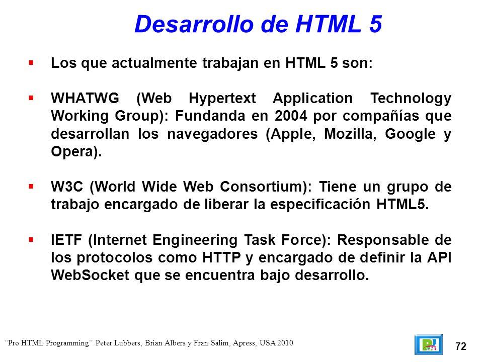 73 Pro HTML Programming Peter Lubbers, Brian Albers y Fran Salim, Apress, USA 2010 NO Plugins HTML 5 tiene soporte nativo para varias tecnologías sin necesidad de utilizar plugins.
