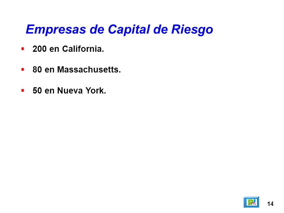 14 200 en California. 80 en Massachusetts. 50 en Nueva York. Empresas de Capital de Riesgo
